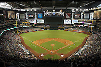 Arizona Diamondbacks stadium with the roof closed during a National League regular season game against the Colorado Rockies at Chase Field on October 3, 2012 in Phoenix, Arizona. Colorado defeated Arizona 2-1. (Mike Janes/Four Seam Images)