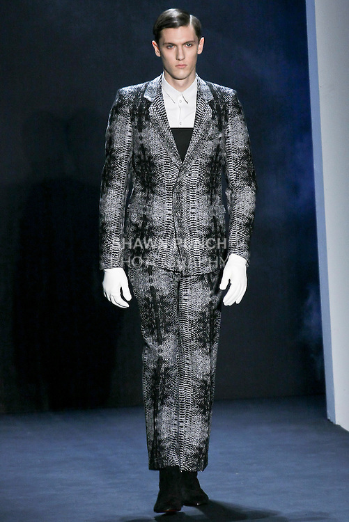 Model walks the runway in a Davidelfin Fall Winter 2010-2011 outfit by Spanish designer David Delfin, during Mercedes-Benz Fashion Week Fall 2010.