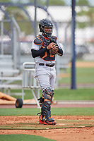 GCL Marlins catcher Luis Arcaya (11) warms up before a game against the GCL Mets on August 3, 2018 at St. Lucie Sports Complex in Port St. Lucie, Florida.  GCL Mets defeated GCL Marlins 3-2.  (Mike Janes/Four Seam Images)