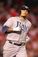 Tampa Bay Rays shortstop Felipe Lopez #45 runs the bases against the Los Angeles Angels at Angel Stadium on June 18, 2011 in Anaheim,California. (Larry Goren/Four Seam Images)