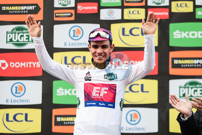 Sergio Andre Higuita (COL) EF Pro Cycling retains the young riders White Jersey on the podium at the end of Stage 4 of the 78th edition of Paris-Nice 2020, and individual time trial running 15.1km around Saint-Amand-Montrond, France. 11th March 2020.<br /> Picture: ASO/Fabien Boukla | Cyclefile<br /> All photos usage must carry mandatory copyright credit (© Cyclefile | ASO/Fabien Boukla)