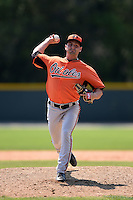 Baltimore Orioles pitcher Brad Duffy (48) during a minor league spring training game against the Boston Red Sox on March 20, 2015 at the Buck O'Neil Complex in Sarasota, Florida.  (Mike Janes/Four Seam Images)