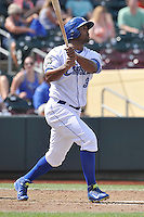 Carlos Peguero #39 of the Omaha Storm Chasers hits a home run against the Las Vegas 51s at Werner Park on August 17, 2014 in Omaha, Nebraska. The Storm Chasers  won 4-0.   (Dennis Hubbard/Four Seam Images)