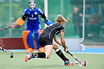 GER - Mannheim, Germany, May 25: During the U16 Girls match between The Netherlands (orange) and Germany (black) during the international witsun tournament on May 25, 2015 at Mannheimer HC in Mannheim, Germany. Final score 1-1 (1-0). (Photo by Dirk Markgraf / www.265-images.com) *** Local caption *** Maria Seeger #5 of Germany