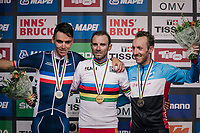 Podium:<br /> 1/ Alejandro Valverde (ESP/Movistar)<br /> 2/ Romain Bardet (FRA/AG2R-LaMondiale)<br /> 3/ Michael Woods (CAN/EducationFirst-Drapac)<br /> <br /> MEN ELITE ROAD RACE<br /> Kufstein to Innsbruck: 258.5 km<br /> <br /> UCI 2018 Road World Championships<br /> Innsbruck - Tirol / Austria