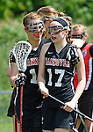 GER - Hannover, Germany, May 30: During the Women Lacrosse Playoffs 2015 match between DHC Hannover (black) and SC Frankfurt 1880 (red) on May 30, 2015 at Deutscher Hockey-Club Hannover e.V. in Hannover, Germany. Final score 23:3. (Photo by Dirk Markgraf / www.265-images.com) *** Local caption *** Rahel Bertram #19 of DHC Hannover, Insa Kriwall #17 of DHC Hannover