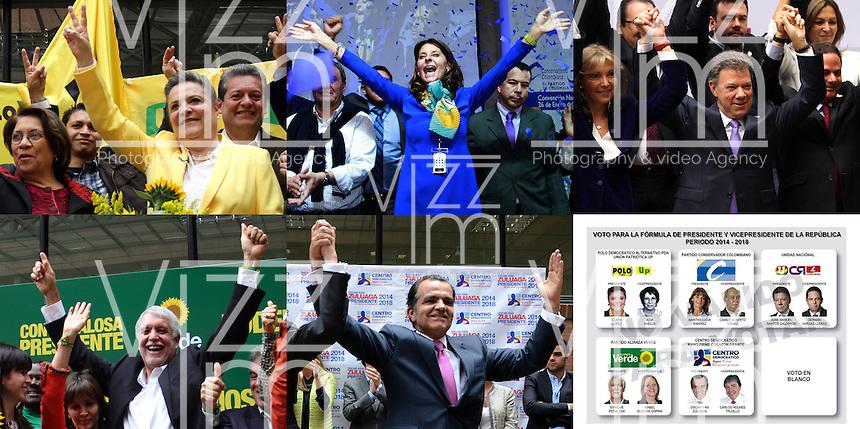 BOGOTA -COLOMBIA. 29-04-2014. Estos son los candidatos a la presidencia de la Republica de Colombia para el periodo 2014 -2018 ubicados en el tarjeton electoral de la Registraduria de Colombia: De izquierda a derecha arriba : Clara Lopez y Aida Avella ( vicepresidencia) por El Polo Democratico  Arlternativo PDA Union Patriotica UP , Martha Lucia Ramirez y  Camilo Alberto Gomez (vicepresidencia) por el Partido Conservador Colombiano , Juan Manuel Santos Calderon y German Vargas Lleras (Vicepresidencia) por la Unidad Nacional  , Abajo de izquierda a derecha: Enrique Pe–alosa e Isabel Segovia Ospina (Vicepresidencia) por el partido Verde ,Oscar Ivan Zuluaga y Carlos Holmes Trujillo (Vicepresidencia) por El Centro Democratico Mano Firme Corazon Grande y  la casilla para el voto en Blanco. . / These are the candidates for the presidency of the Republic of Colombia for the period 2014 -2018 located in the electoral Greeting Registraduria of Colombia: From left to right above: Clara Lopez and Aida Avella (vice) by The Democratic Polo Arlternativo PDA Union patriotic UP, Martha Lucia Ramirez and Alberto Camilo Gomez (Vice) by the Colombian Conservative Party, Juan Manuel Santos Calderon and German Vargas Lleras (Vice Chair) for National Unity, bottom left to right: Enrique Pe–alosa and Isabella Segovia Ospina (Vice Chair) by the Green party, Oscar Ivan Zuluaga and Carlos Holmes Trujillo (Vice Chair) by the democratic Firm Hand Large Heart Center and the box for the White vote.Photo: VizzorImage/