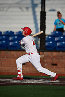 Johnson City Cardinals third baseman Nolan Gorman (4) flies out during a game against the Danville Braves on July 29, 2018 at TVA Credit Union Ballpark in Johnson City, Tennessee.  Johnson City defeated Danville 8-1.  (Mike Janes/Four Seam Images)