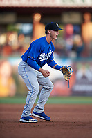 Rancho Cucamonga Quakes third baseman Rylan Bannon (25) during a California League game against the Stockton Ports at Banner Island Ballpark on May 16, 2018 in Stockton, California. Rancho Cucamonga defeated Stockton 6-3. (Zachary Lucy/Four Seam Images)