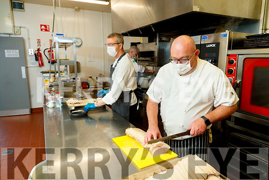 Chefs Mark Murphy, TJ O'Connor and Noel Dennehy working at meals on wheels in Ballyseedy garden centre.