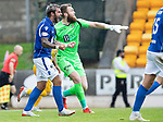 St Johnstone v Livingston….10.08.19      McDiarmid Park     SPFL <br />Richard Foster celebrates as Lyndon Dykes penalty kick is saved by Zander Clark<br />Picture by Graeme Hart. <br />Copyright Perthshire Picture Agency<br />Tel: 01738 623350  Mobile: 07990 594431