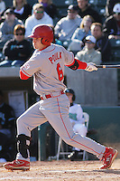 Dallas Poulk of the North Carolina State Wolfpack hitting during  a game against  the Coastal Carolina University Chanticleers at the Baseball at the Beach Tournament held at BB&T Coastal Field in Myrtle Beach, SC on February 28, 2010.