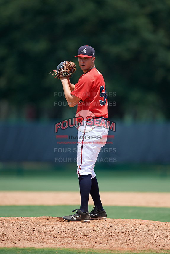 GCL Braves relief pitcher Jackson Lourie (54) gets ready to deliver a pitch during a game against the GCL Pirates on July 27, 2017 at ESPN Wide World of Sports Complex in Kissimmee, Florida.  GCL Braves defeated the GCL Pirates 8-6.  (Mike Janes/Four Seam Images)