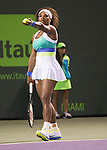 Serena Williams (USA) defeats Agnieska Radwanska (POL) 6-0, 6-3,  at the Sony Open being played at Tennis Center at Crandon Park in Miami, Key Biscayne, Florida on March 28, 2013
