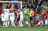 Spain's players and Finland's playres have words during international match of the qualifiers for the FIFA World Cup Brazil 2014.March 22,2013.(ALTERPHOTOS/Victor Blanco)