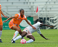 Sky Blue FC  midfielder Rosana (11) pushes St Louis Athletica forward Enoila Aluko (9) during a WPS match at Anheuser-Busch Soccer Park, in St. Louis, MO, June 7, 2009. Athletica won the match 1-0.