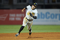 Fabricio Macias (49) of the West Virginia Power hustles towards third base against the Greensboro Grasshoppers at First National Bank Field on August 9, 2018 in Greensboro, North Carolina. The Power defeated the Grasshoppers 9-7 in game two of a double-header. (Brian Westerholt/Four Seam Images)