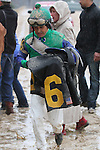 February 22, 2015: Jockey Mike Smith in the rain after winning the South West Stakes (Grade III) at Oaklawn Park in Hot Springs, AR. Justin Manning/ESW/CSM
