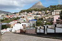 South Africa, Cape Town.  Houses in the Higher Elevations of  Bo-kaap. Lion's Head in the distance.
