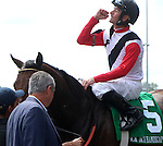 September 06, 2014:   Bradester wins the 22nd running of the G3 Ack Ack Handicap at Churchill Downs (Louisville, KY), ridden by Corey Lanerie.  He is a bay colt, 4 years old, trained by Eddie Kenneally and owned by Joseph B. Sulton.  Lion Heart x Grandestofall (Grand Slam) ©Mary M. Meek/ESW/CSM