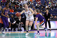 GREENSBORO, NC - MARCH 6: Taylor Ortlepp #4 of Boston College drives the lane during a game between Clemson and Boston College at Greensboro Coliseum on March 6, 2020 in Greensboro, North Carolina.