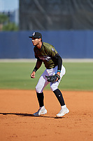 Biloxi Shuckers first baseman Jake Gatewood (3) during a game against the Jacksonville Jumbo Shrimp on May 6, 2018 at MGM Park in Biloxi, Mississippi.  Biloxi defeated Jacksonville 6-5.  (Mike Janes/Four Seam Images)