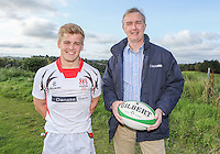 Ulster Schools U18 | Saturday 5th September 2015<br /> <br /> Ulster Schools U18 Squad 2015-2016<br /> Royal School Armagh player Josh Agnew with Danske Bank representative Mark Beattie at a recent training session at Newforge Country Club in Belfast. Photo : John Dickson - DICKSONDIGITAL