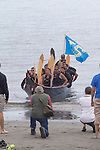 Canoe Journey, Paddle to Nisqually, 2016, Muckleshoot Tribe, Muckleshoot Canoe Family, landing, Port Townsend, Fort Worden, Olympic Peninsula, Puget Sound, Salish Sea, Washington State, USA,