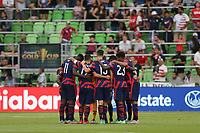 AUSTIN, TX - JULY 29: United States players huddle during a game between Qatar and USMNT at Q2 Stadium on July 29, 2021 in Austin, Texas.