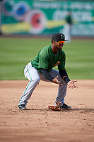 Clinton LumberKings third baseman Luis Rengifo (1) during practice before a game against the West Michigan Whitecaps on May 3, 2017 at Fifth Third Ballpark in Comstock Park, Michigan.  West Michigan defeated Clinton 3-2.  (Mike Janes/Four Seam Images)