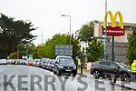 The car traffic on the main road by McDonalds on Saturday.