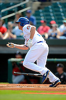Chattanooga Lookouts first baseman J.T. Wise #31 during a game against the Birmingham Barons on April 17, 2013 at AT&T Field in Chattanooga, Tennessee.  Chattanooga defeated Birmingham 5-4.  (Mike Janes/Four Seam Images)