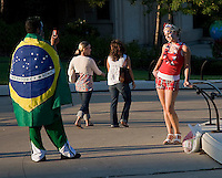 A Brazilian fan takes a picture of a USA fan prior to the game. Brazil defeated the United States men's national team 4-2 in an international friendly at Soldier Field in Chicago, IL on September 9, 2007.