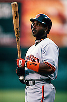 Barry Bonds of the San Francisco Giants participates in a Major League Baseball game at Dodger Stadium during the 1998 season in Los Angeles, California. (Larry Goren/Four Seam Images)