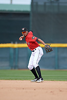 Erie SeaWolves second baseman Harold Castro (3) throws to first base for the out during a game against the Akron RubberDucks on August 27, 2017 at UPMC Park in Erie, Pennsylvania.  Akron defeated Erie 6-4.  (Mike Janes/Four Seam Images)
