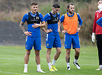 St Johnstone Training….19.08.20<br />Callum Hendry pictured with Scott Tanser and Stevie May during training at McDiarmid Park this morning ahead of tomorrow's re-arranged game against Aberdeen.<br />Picture by Graeme Hart.<br />Copyright Perthshire Picture Agency<br />Tel: 01738 623350  Mobile: 07990 594431