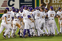 LSU Tigers celebrate a walk-off win in the Southeastern Conference baseball game against the Texas A&M Aggies on April 23, 2015 at Alex Box Stadium in Baton Rouge, Louisiana. LSU defeated Texas A&M 4-3. (Andrew Woolley/Four Seam Images)