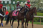 April 10, 2015: Post parade before the running of the Apple Blossom Handicap at Oaklawn Park in Hot Springs, AR. Justin Manning/ESW/CSM