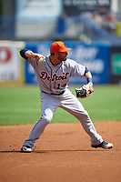 Detroit Tigers shortstop Mike Aviles (14) throws to first base during a Spring Training game against the New York Yankees on March 2, 2016 at George M. Steinbrenner Field in Tampa, Florida.  New York defeated Detroit 10-9.  (Mike Janes/Four Seam Images)