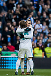Luka Modric of Real Madrid celebrates with teammate Gareth Bale during the La Liga 2017-18 match between Real Madrid and RC Deportivo La Coruna at Santiago Bernabeu Stadium on January 21 2018 in Madrid, Spain. Photo by Diego Gonzalez / Power Sport Images