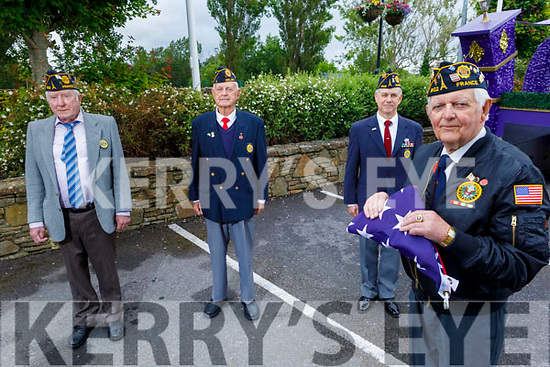 Retired US Service officers about to raise the USA Flag at the Rose Hotel on Saturday as part of the July 4th Independence Day celebrations. Front right: Commander Pat Mulcahy from Rockchapel, Back l to r: Michael O'Connor (Newcastlewest, Army), Ed Devine (Newcastlewest, Army) and Rick O'Stein.