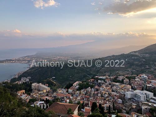 Taormina, Sicily, Italy<br /> July 23, 2019<br /> <br /> Taormina and the Mediterranean Sea.