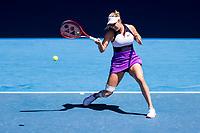 15th February 2021, Melbourne, Victoria, Australia; Donna Vekic of Croatia returns the ball during round 4 of the 2021 Australian Open on February 15, 2021, at Melbourne Park in Melbourne, Australia.