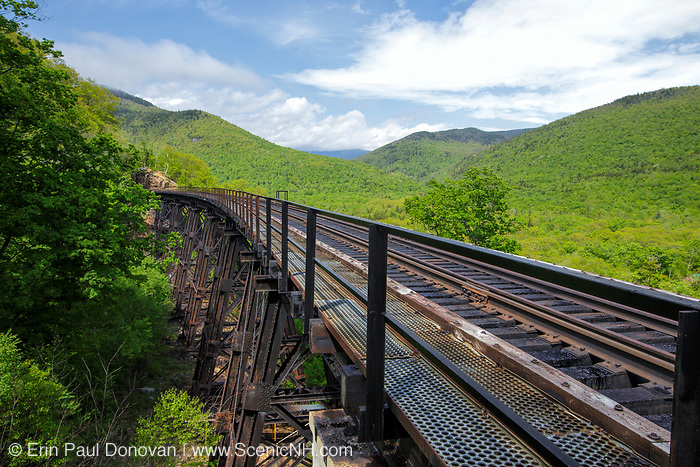 Crawford Notch State Park - Frankenstein Trestle along the old Maine Central Railroad in the White Mountains, New Hampshire USA. Since 1995 the Conway Scenic Railroad, which provides passenger excursion trains has been using the track