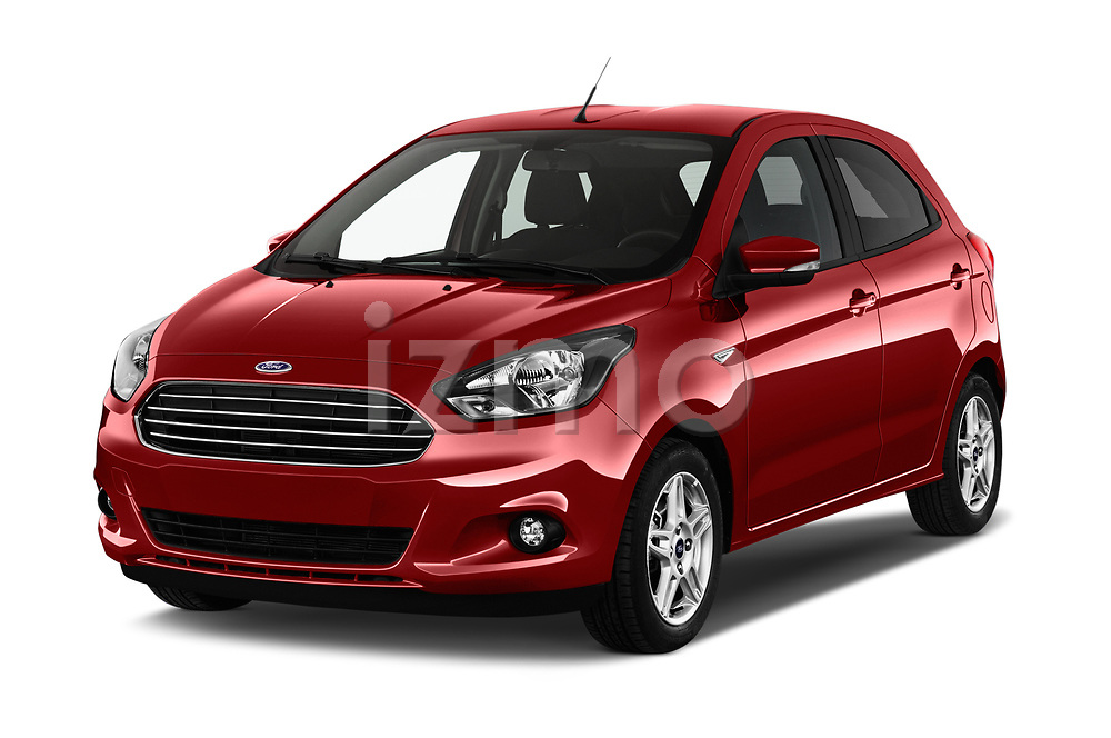 2017 Ford KA+ Ultimate 5 Door Hatchback Angular Front stock photos of front three quarter view
