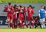 St Johnstone v Aberdeen…13.12.17…  McDiarmid Park…  SPFL<br />Adam Rooney is mobbed by his team mates after opening the scoring<br />Picture by Graeme Hart. <br />Copyright Perthshire Picture Agency<br />Tel: 01738 623350  Mobile: 07990 594431