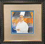 Untitled Chef<br /> Watercolor on Archival Paper<br /> 8x8 in a beautiful and unique professional frame<br /> <br /> $950