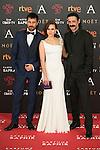 Hugo Silva, Aura Garrido and Nacho Fresneda attend 30th Goya Awards red carpet in Madrid, Spain. February 06, 2016. (ALTERPHOTOS/Victor Blanco)