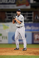 Mobile BayBears relief pitcher Ryan Clark (28) gets ready to deliver a pitch during a game against the Mississippi Braves on May 7, 2018 at Trustmark Park in Pearl, Mississippi.  Mobile defeated Mississippi 5-0.  (Mike Janes/Four Seam Images)