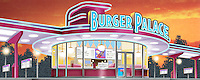 The exterior of the Burger Palace at twilight. For Kenmark Scenic Backdrops, Inc.